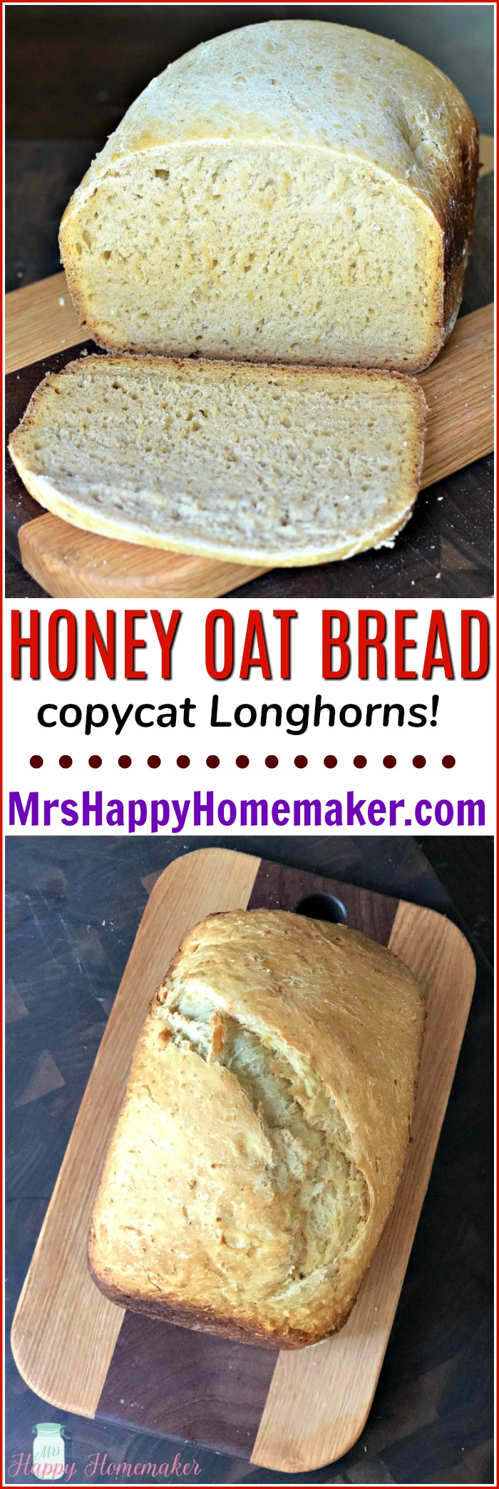 Copycat Longhorn's Steakhouse Honey Oat Bread | MrsHappyHomemaker.com