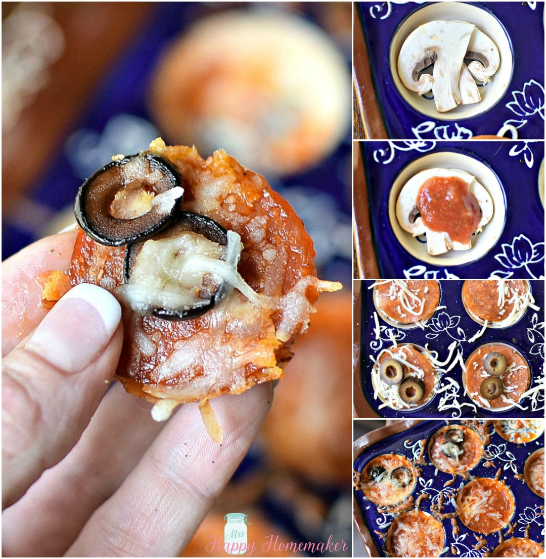 (Low Carb) Mushroom Slice Pizza Bites - the mushroom crusted mini low carb pizza trend has just gotten even easier. Instead of cleaning out mushroom caps & using an entire mushroom per pizza bite, use sliced mushrooms & a mini muffin pan instead!