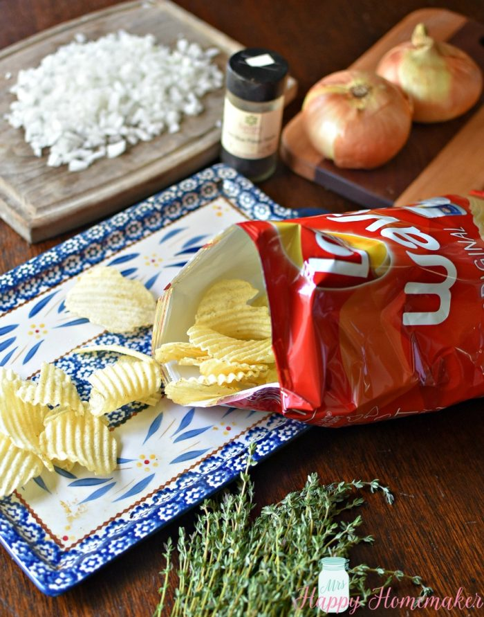 potato chips, onion, and seasonings on a tabletop to make Vidalia Onion Potato Chip Nachos
