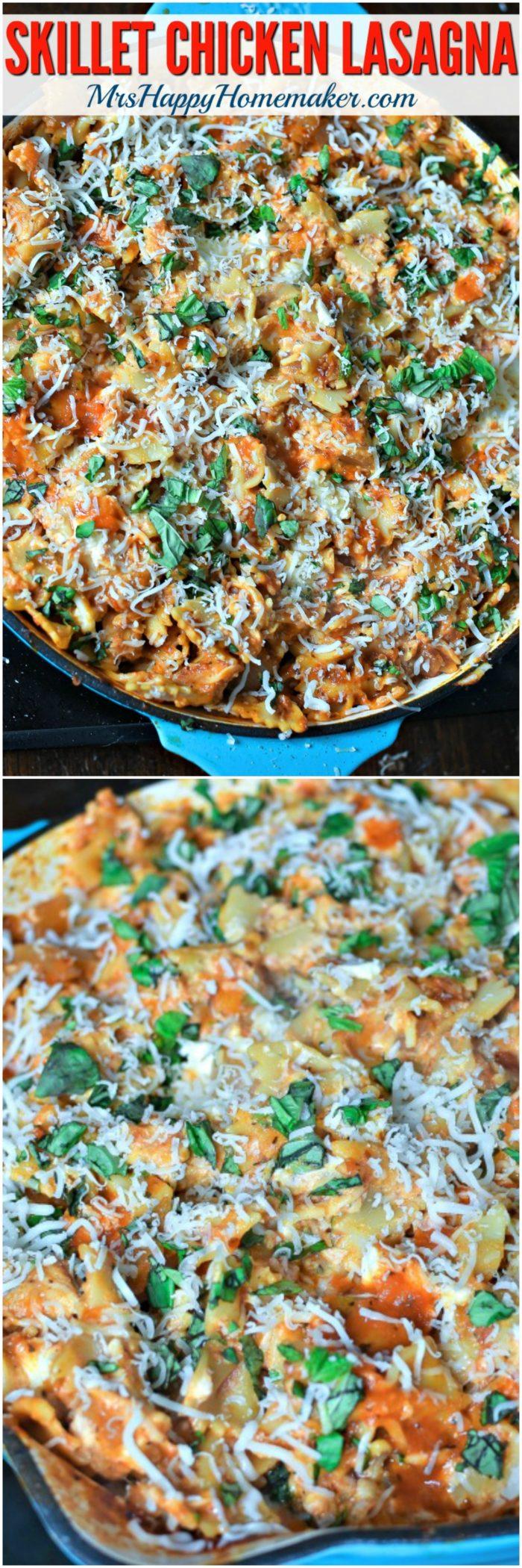 Skillet Chicken Lasagna | MrsHappyHomemaker.com @MrsHappyHomemaker