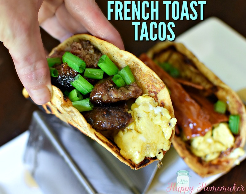French Toast Tacos - flour tortillas dipped in French toast batter and cooked then stuffed with sausage or bacon and eggs with green onion garnish and a drizzle of pancake syrup