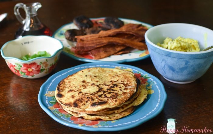 the makings of French toast tacos - tortillas, eggs, and meat
