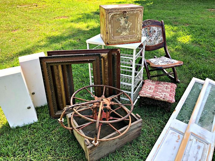 various antiques in the grass
