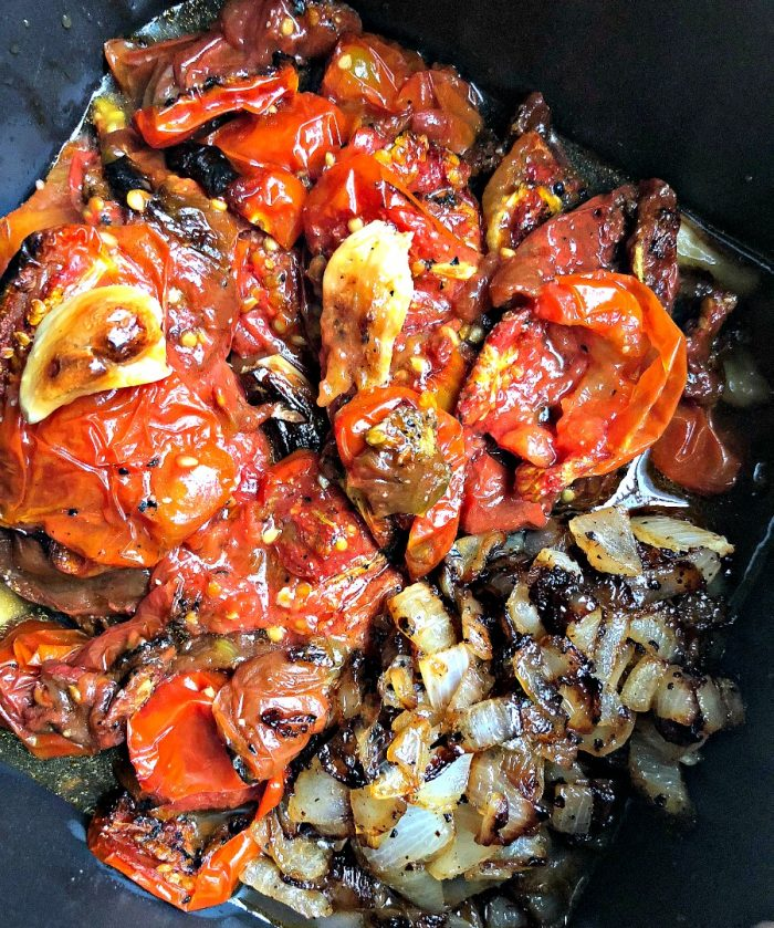 roasted tomatoes, garlic and onions