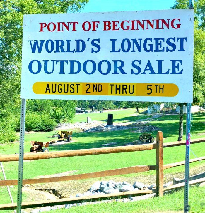 point of beginning of world's longest outdoor sale august 2nd thru 5th