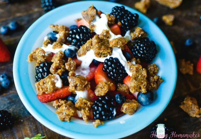 Fruit Bowls with Cashew Cookie Crumbles with fresh berries