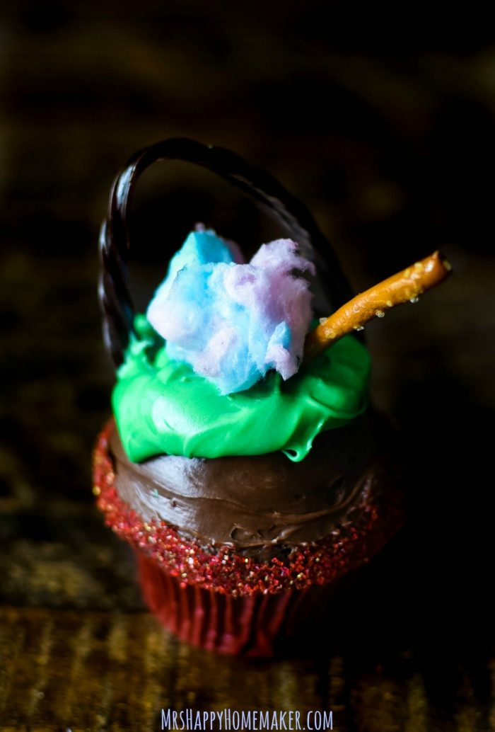 cauldron cupcakes with licorice handle and cotton candy flames