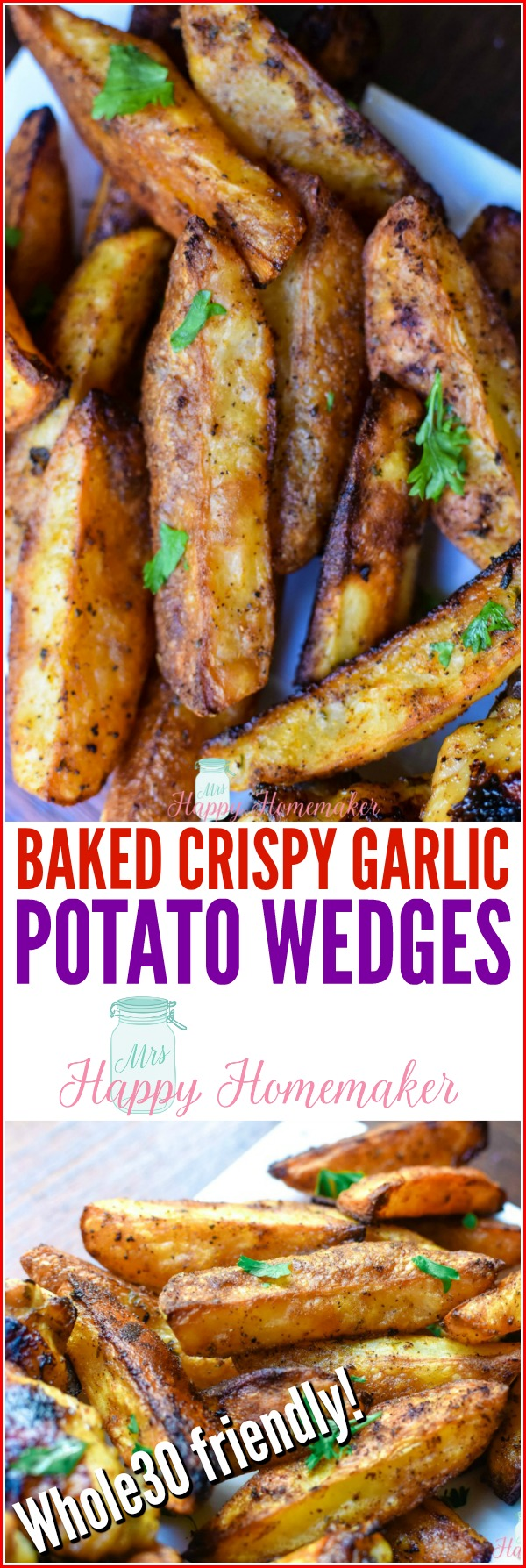 Baked Crispy Garlic Potato Wedges