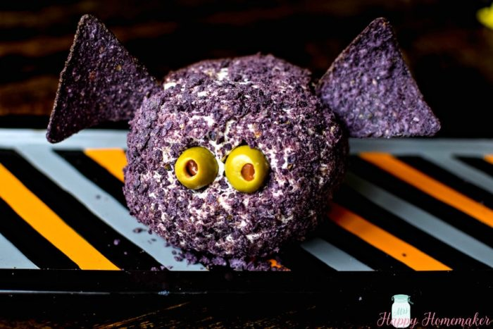 Easy 4 Ingredient Halloween Bat Cheese Ball