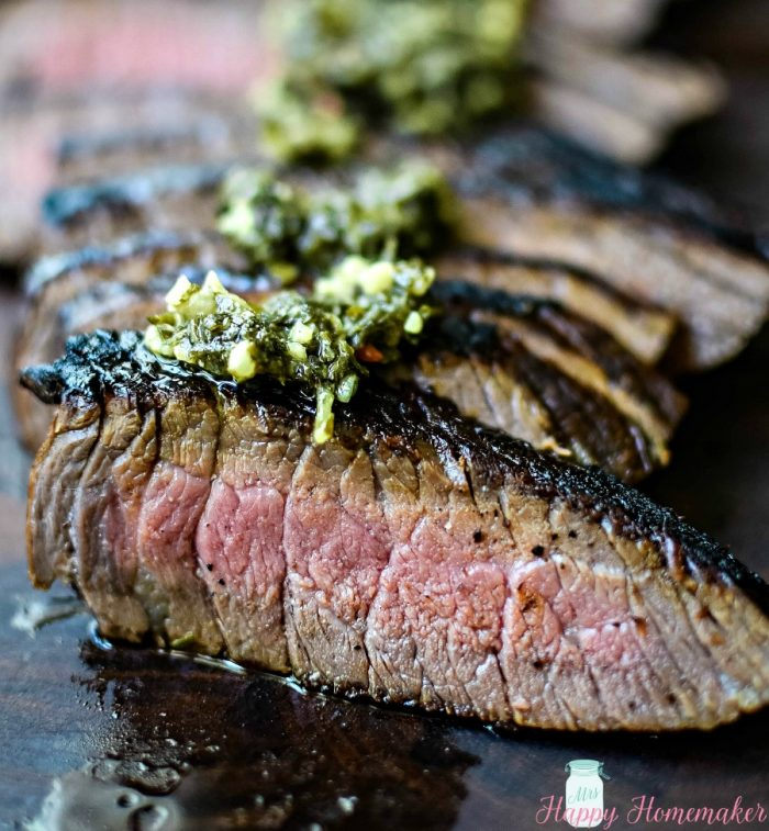 London broil with chimichurri sauce | MrsHappyHomemaker.com