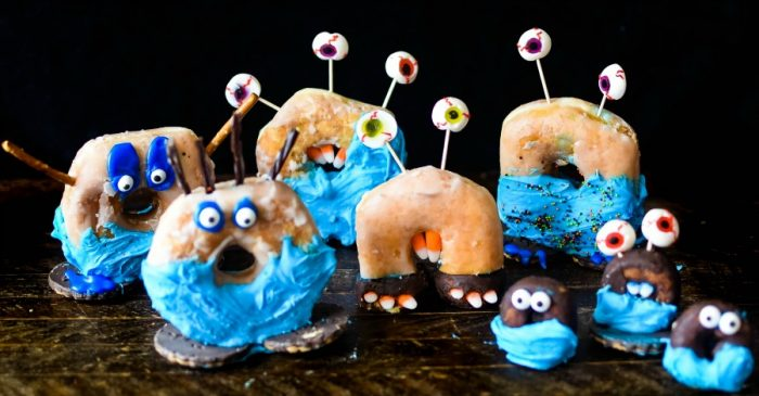 Donut Monsters - monster figures made out of donuts and other edible treats