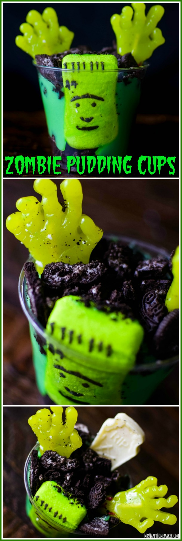 These Zombie Pudding Cups look like the dead are actually rising. They're so simple & ready in 5 minutes. You're gonna love this easy no-bake Halloween dessert! | MrsHappyHomemaker.com @thathousewife #halloweentreatsweek