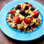 Fruity Pebbles Funnel Cake with berries