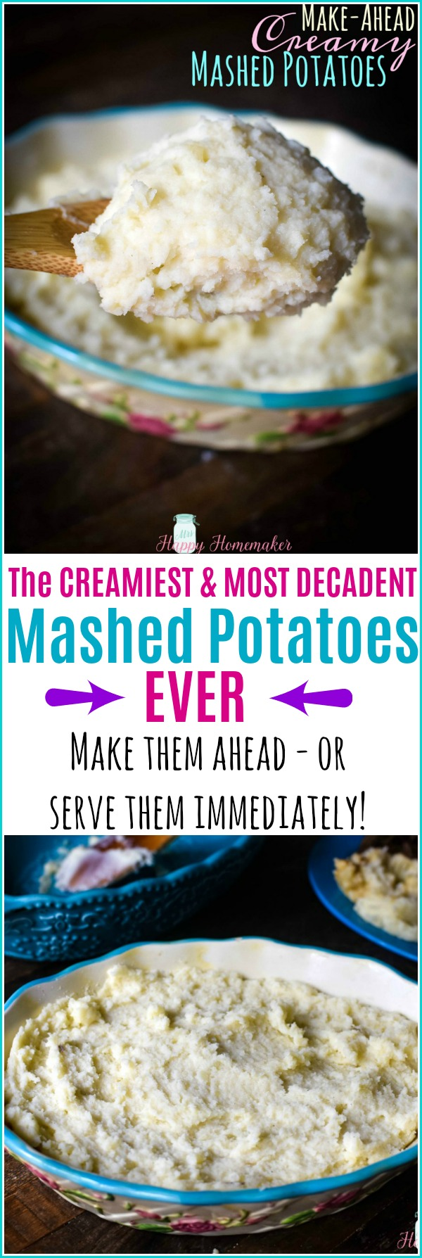 These Make-Ahead Creamy Mashed Potatoes don't have to be made ahead if you don't want to. They are the richest, most delicious, & most decadent mashed potato I've ever had. EVER. | MrsHappyHomemaker.com @thathousewife