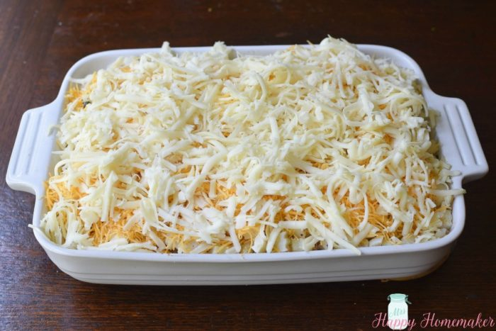 Cheesy Hash Brown Casserole before it goes into the oven