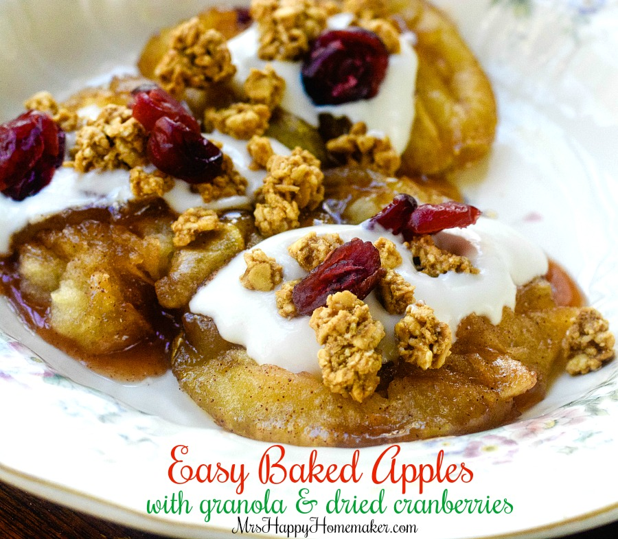 Baked Apples with Granola & Dried Cranberries - easy breakfast or dessert