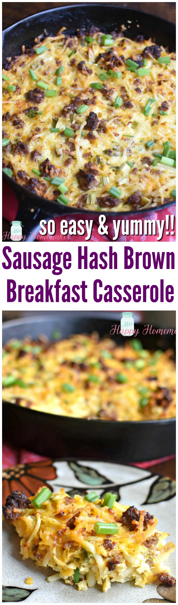 Sausage Hash Brown Breakfast Casserole - so easy and yummy!! | MrsHappyHomemaker.com @thathousewife #breakfastcasserole #casserole #breakfast #brunch
