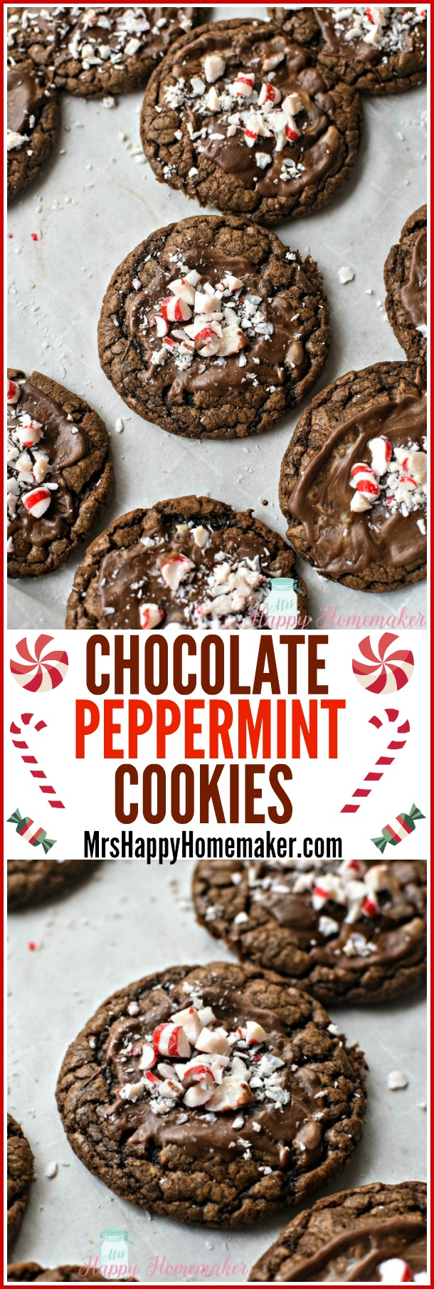 Chocolate Peppermint Cookies | MrsHappyHomemaker.com @thathousewife