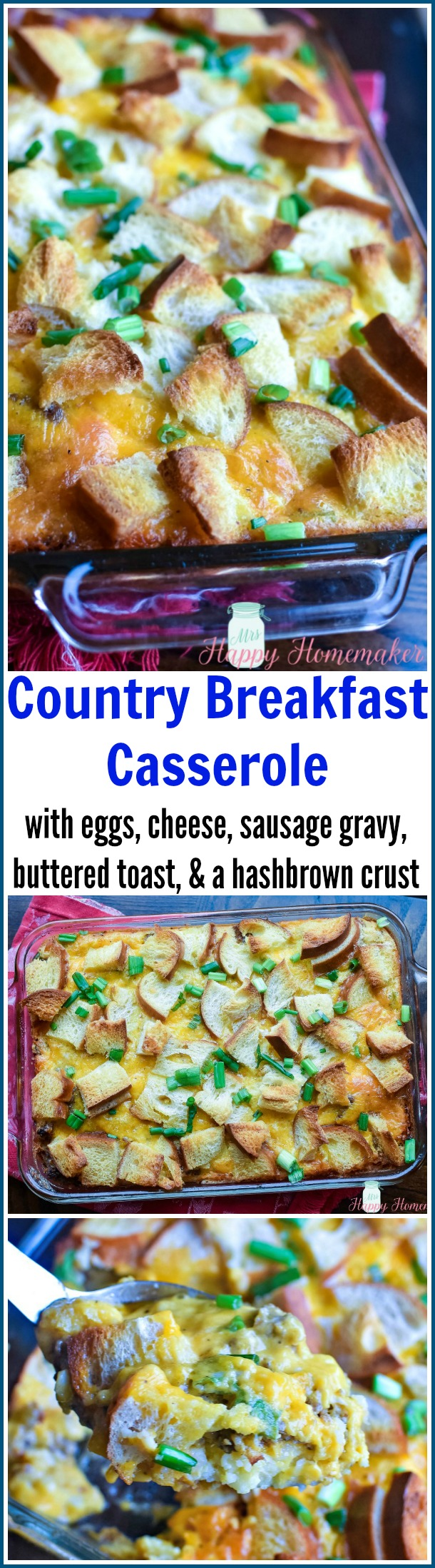 This Country Breakfast Casserole is by far my favorite breakfast casserole recipe. It has eggs, cheese, buttered toast, sausage, & gravy with a hash brown crust.