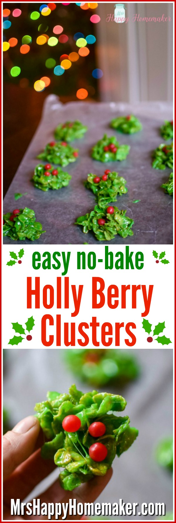 Looking for an easy Christmas cookie to make? These Holly Berry Clusters are no-bake, only 5 ingredients, & so easy that even the littlest of kids can help make them!