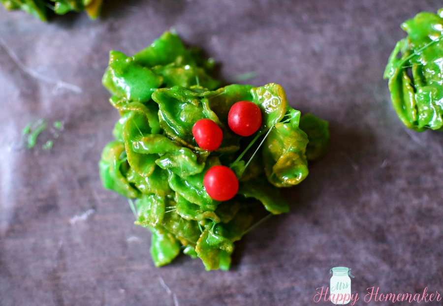 Holly Berry Wreath Cluster Cookies Mrs Happy Homemaker