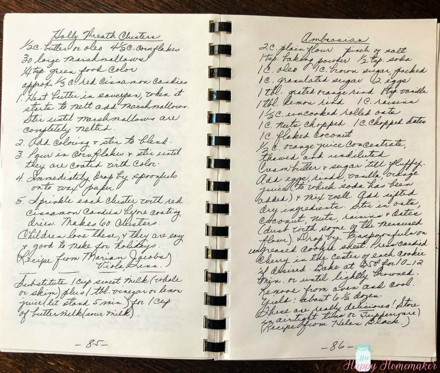 Ida Ramsey handwritten cookbook pages 85-86