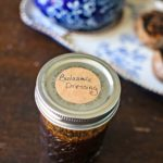 homemade balsamic dressing in a labeled mason jar