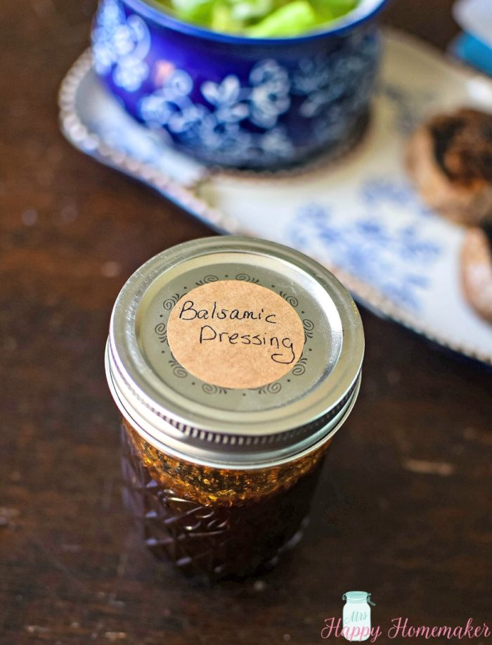 Homemade Whole30 Balsamic Dressing in a labeled mason jar