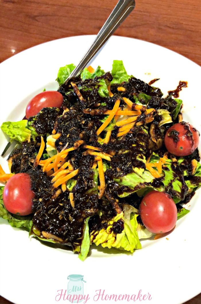 Homemade Balsamic Dressing on top of salad