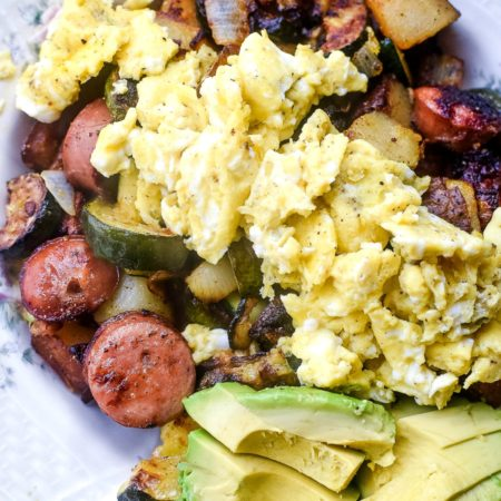 Chicken Sausage and Veggie Breakfast Hash with sliced avocado and eggs | MrsHappyHomemaker.com