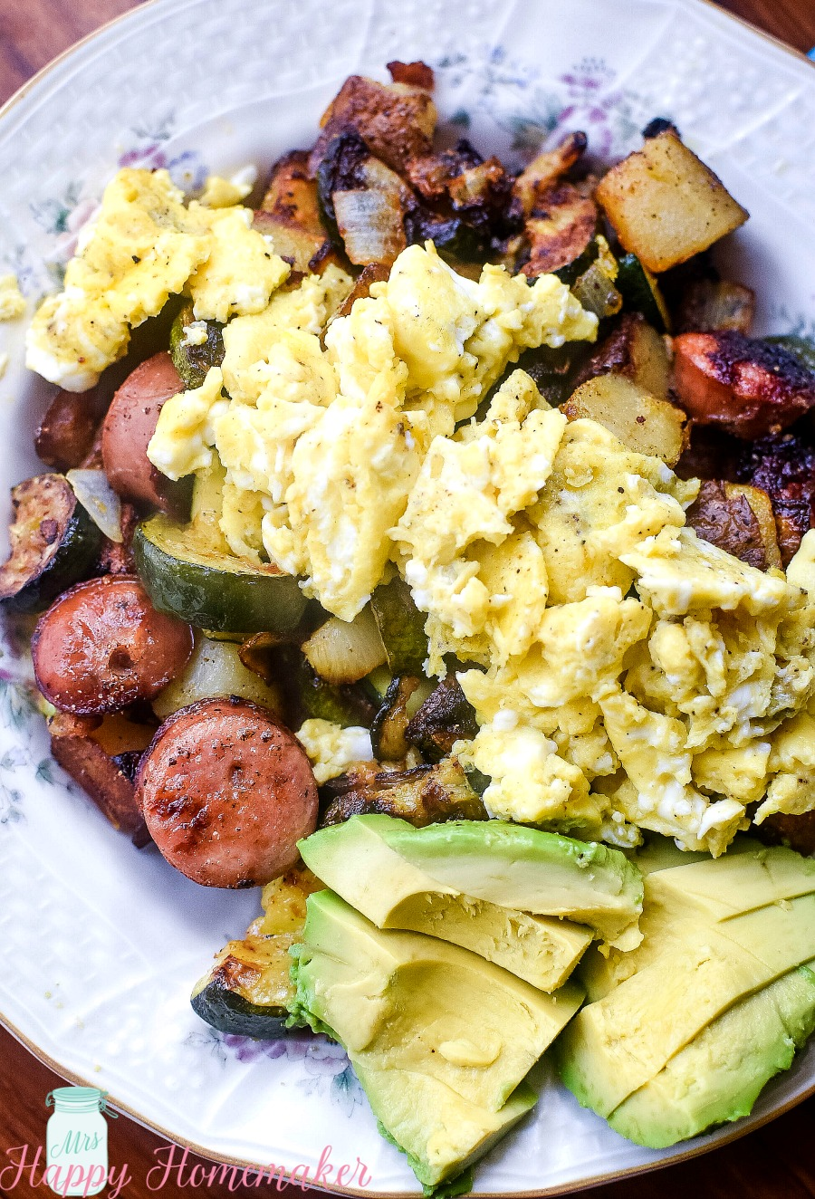 Chicken Sausage and Veggie Breakfast Hash with sliced avocado | MrsHappyHomemaker.com