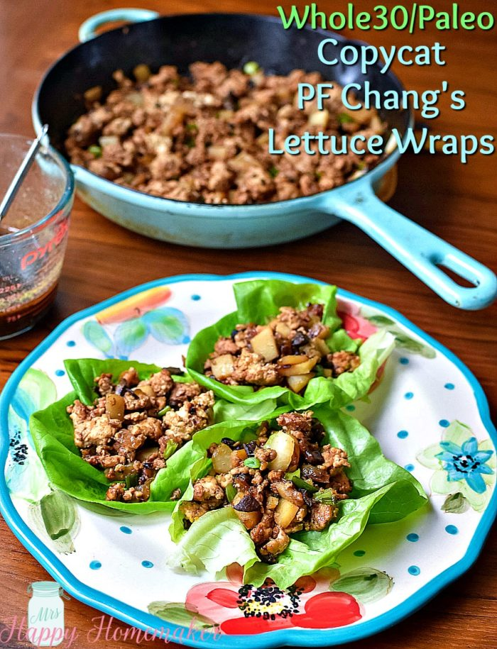 Whole30|Paleo Copycat PF Chang's Lettuce Wraps | MrsHappyHomemaker.com @thathousewife #whole30lettucewraps #pfchangslettucewraps #whole30 #paleo