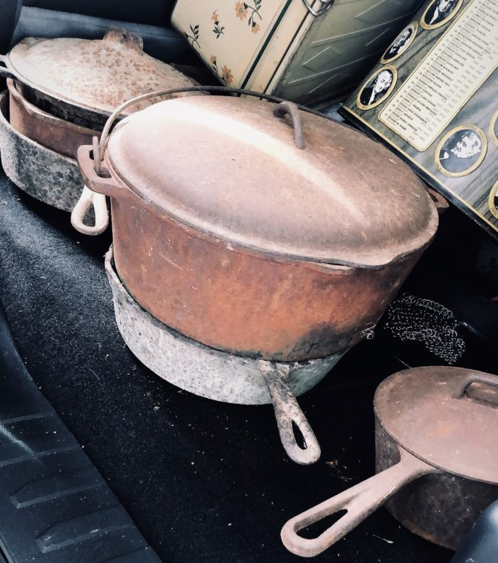old cast iron pots purchased from peaches to beaches yard sale 2019