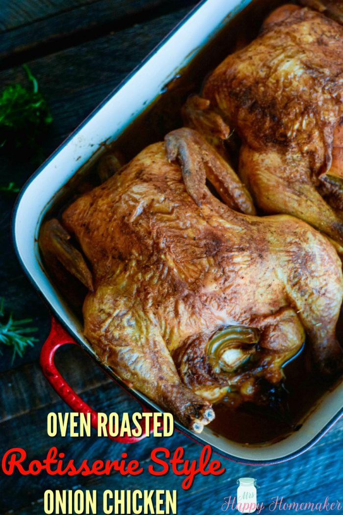 Oven Roasted Rotisserie Style Chicken | MrsHappyHomemaker.com @thathousewife