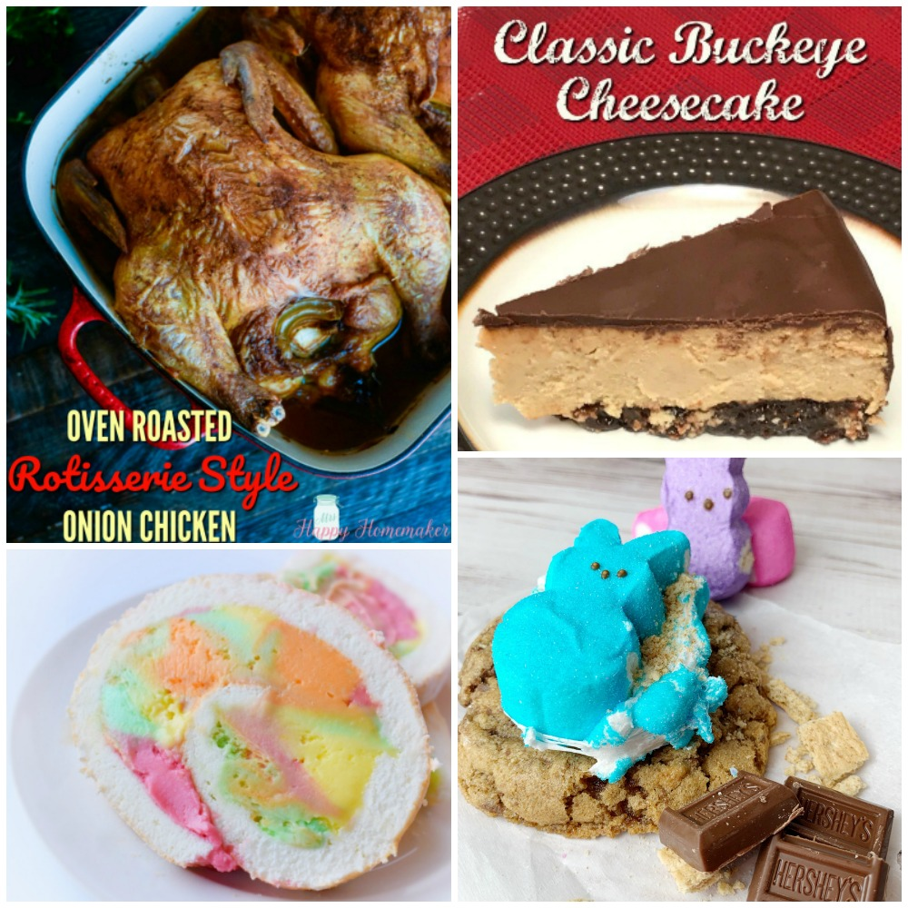 Meal Plan Monday featured recipe collage of chicken, cheesecake, colorful swirl cake, and peep smore cookies