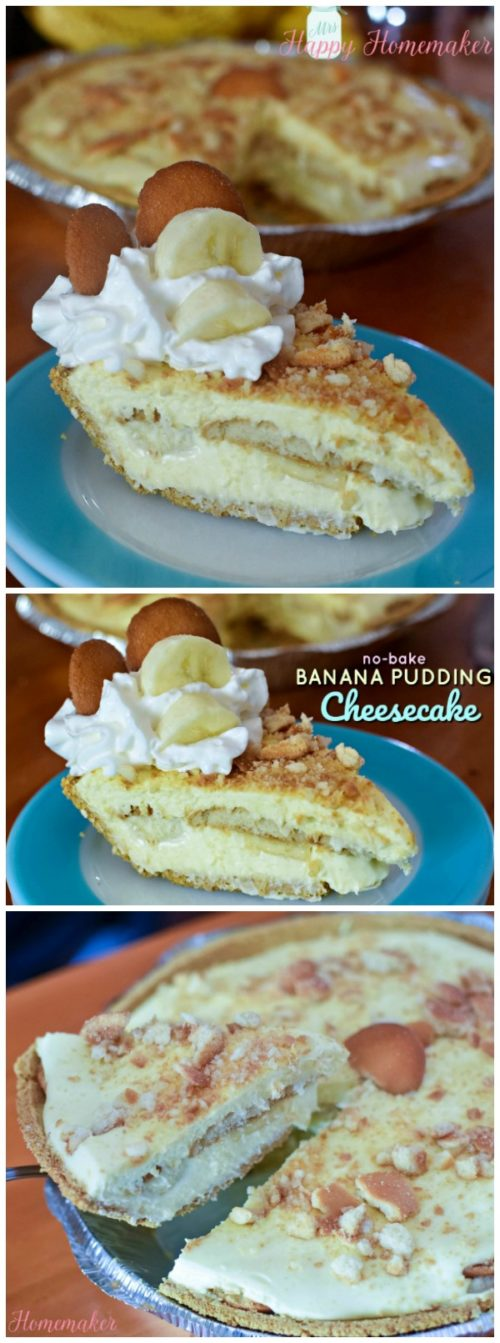 No-Bake Banana Pudding Cheesecake | MrsHappyHomemaker.com @thathousewife