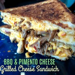 BBQ Pulled Pork Pimento Cheese Grilled Cheese Sandwich | MrsHappyHomemaker.com