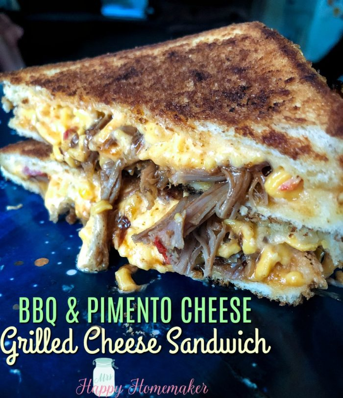 BBQ Pimento Cheese Grilled Cheese Sandwich | MrsHappyHomemaker.com @thathousewife