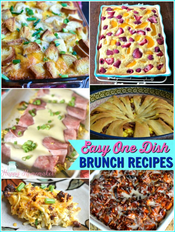 Easy One Dish Brunch Breakfast Recipes | MrsHappyHomemaker.com @thathousewife #brunch #breakfast #onedish #breakfastcasserole
