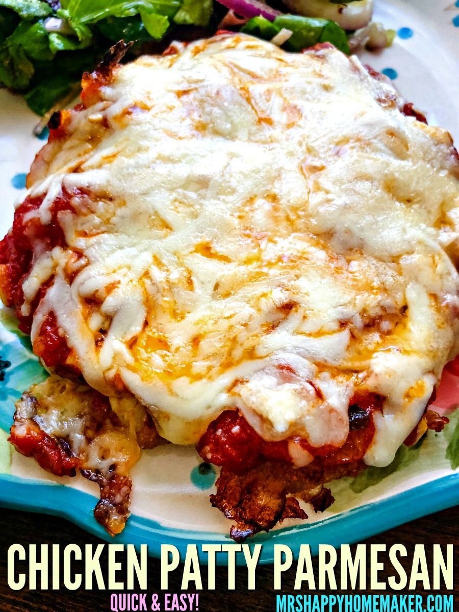 If you love chicken parmesan and quick & easy meals like I do - then you're gonna love this Chicken Patty Parmesan. It ready in less than 30 minutes! | MrsHappyHomemaker.com @thathousewife #chickenpattyparm #chickenpattyparmesan #chickenparm #chickenparmesan #chicken