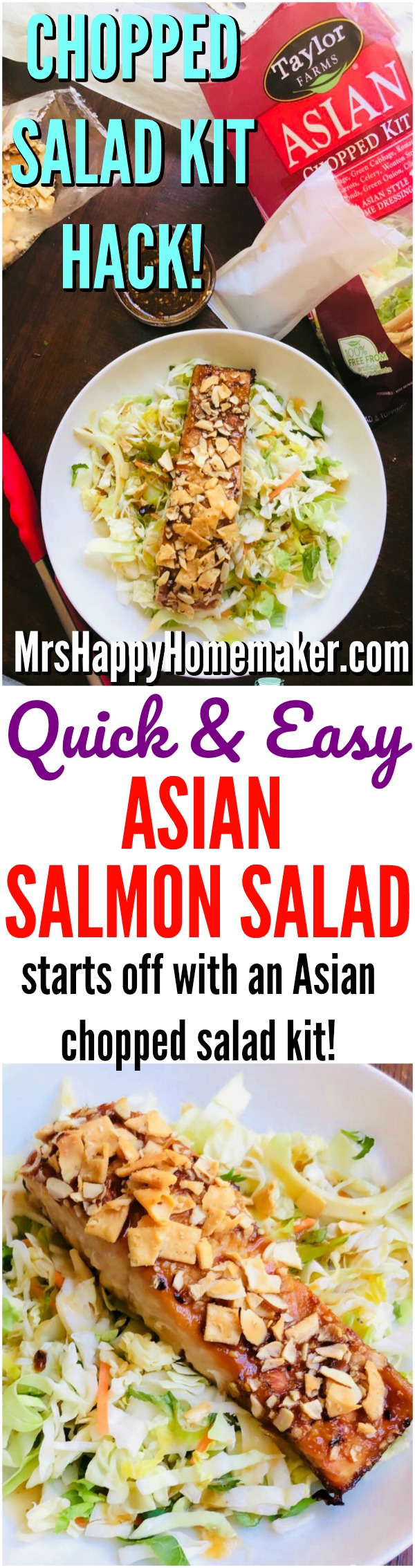 This Quick & Easy Asian Salmon Salad is so easy to throw together. It starts off with a chopped salad kit & is a delicious lunch hack! | MrsHappyHomemaker.com @thathousewife
