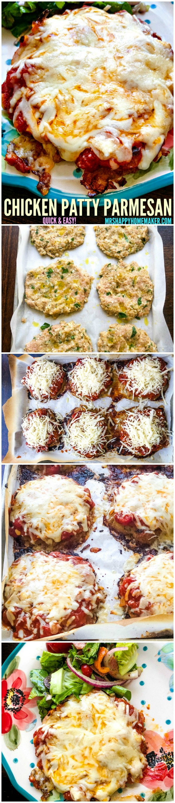 If you love chicken parmesan and quick & easy meals like I do - then you're gonna love this Chicken Patty Parmesan. It ready in less than 30 minutes!  | MrsHappyHomemaker.com @thathousewife #chickenpattyparm #chickenpattyparmesan #chickenparmesan #chickenparm #chicken