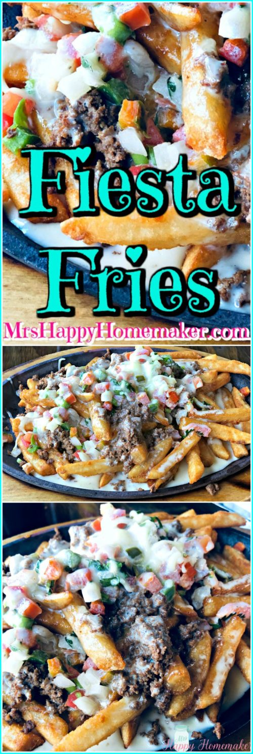 Fiesta Fries - French fries topped with taco seasoned ground beef, pico de Gallo, & cheese sauce. A copycat recipe from my local Mexican restaurant. So simple yet so delicious! | MrsHappyHomemaker.com @MrsHappyHomemaker