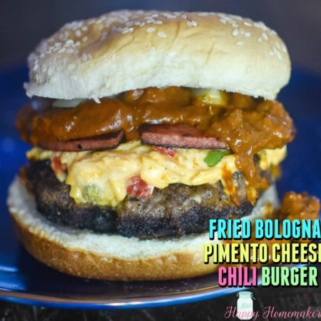 Fried Bologna Pimento Cheese Chili Burger