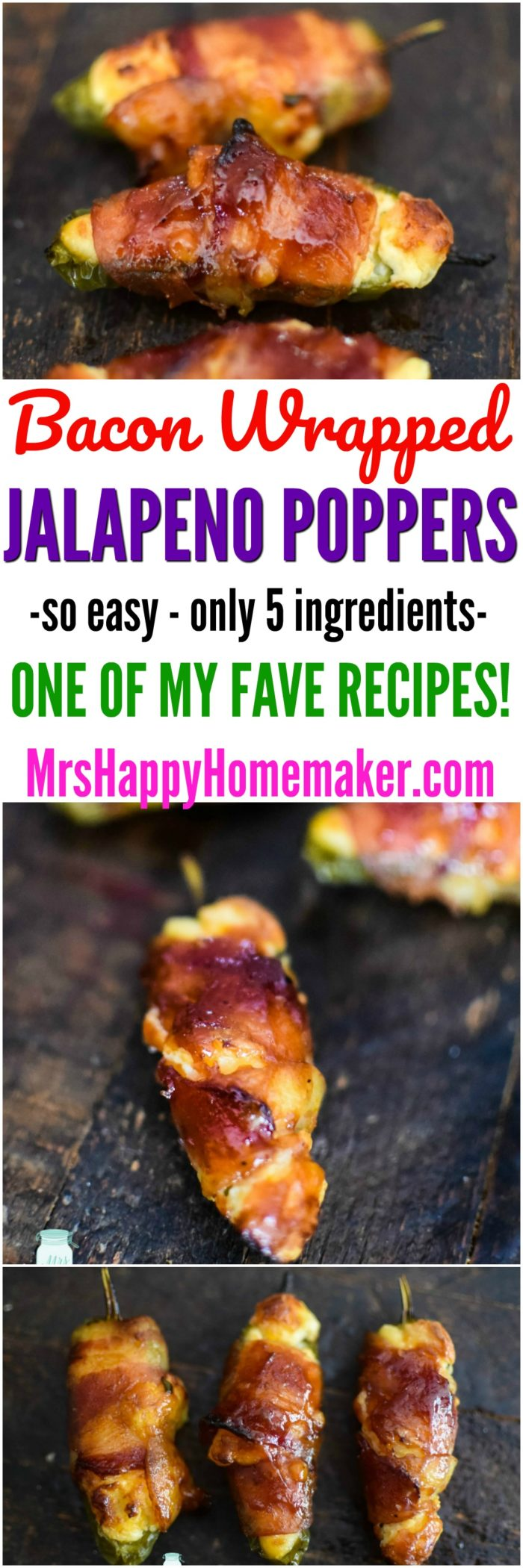 Bacon Wrapped Jalapeno Poppers - only 5 ingredients and they're so delicious! | MrsHappyHomemaker.com
