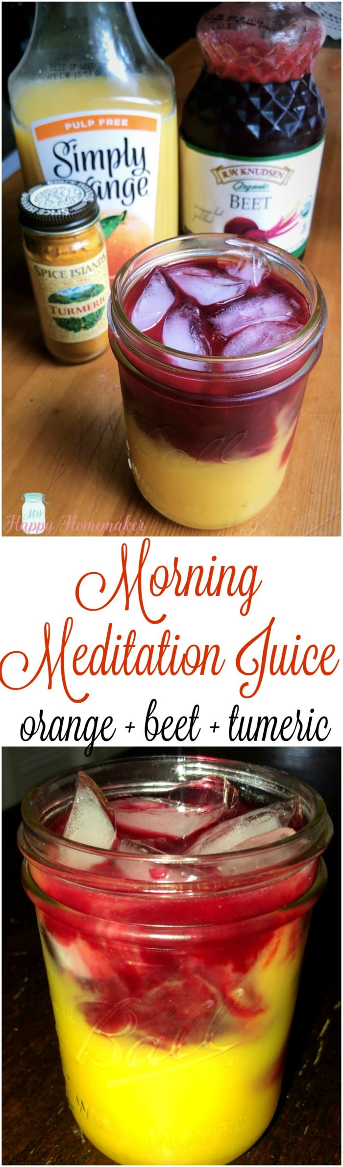Morning Meditation Juice - orange, beet, turmeric | MrsHappyHomemaker.com @MrsHappyHomemaker