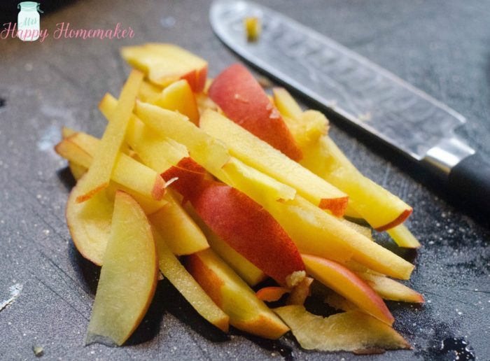 thinly sliced peaches for Peach Slaw