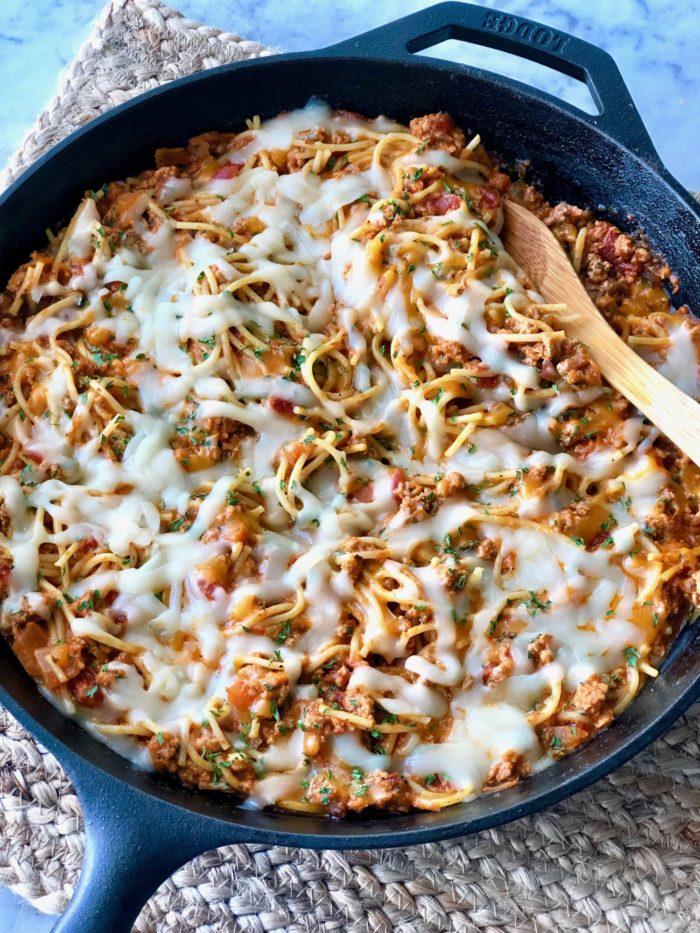 Cheesy Skillet Spaghetti