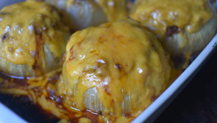 Chili Cheese Stuffed Baked Vidalia Onions - chili stuffed inside of hollowed out Vidalia Onions & baked and topped with cheese