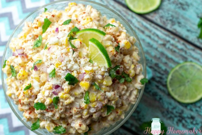 Elote Salad with lime garnish